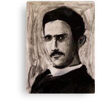 Nikola Tesla charcoal drawing Canvas Print