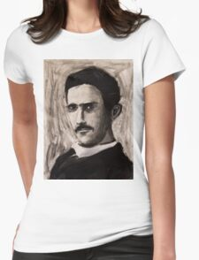 Nikola Tesla charcoal drawing Womens Fitted T-Shirt