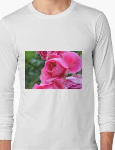Pink roses in the garden. natural background. Long Sleeve T-Shirt