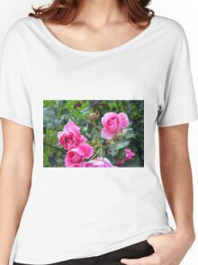 Pink roses in the garden. natural background. Women's Relaxed Fit T-Shirt