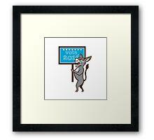 Vote 2016 Democrat Donkey Mascot Cartoon Framed Print