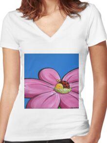 Splatter Flowerbed - Ladybeetle Women's Fitted V-Neck T-Shirt
