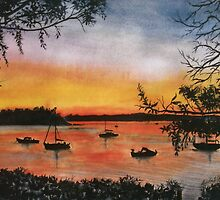 Sunset at Shoal Bay, Australia by Linda Callaghan