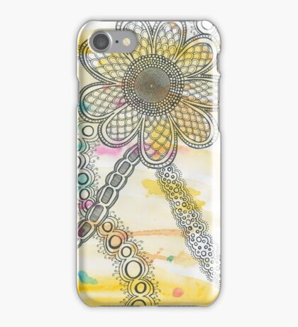 Large Blooming Flower Drawing iPhone Case/Skin