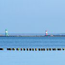 Warnemunde piers with lighthouses by Arie Koene