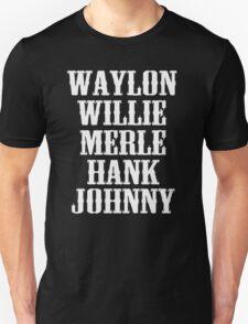 Waylon Jennings Willie Nelson Merle Haggard Hank Williams Johnny Cash  T-Shirt