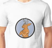 Jackalope Arms Crossed Circle Cartoon Unisex T-Shirt