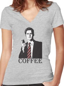 Agent Cooper - Coffee Lover design - Fine Cup of Coffee... AND HOT - Twin Peaks Fans and Coop Lovers Women's Fitted V-Neck T-Shirt