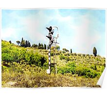 Pieve di Tho: railway signal with country landscape Poster
