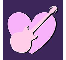 Pink Guitar And Heart Photographic Print