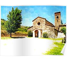 Pieve di Tho: church with tree Poster