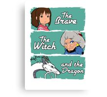 The brave, the witch and the dragon Canvas Print