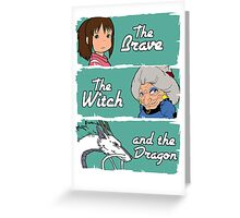 The brave, the witch and the dragon Greeting Card