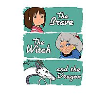 The brave, the witch and the dragon Photographic Print