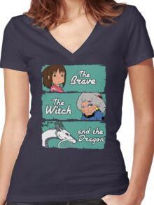 The brave, the witch and the dragon Women's Fitted V-Neck T-Shirt