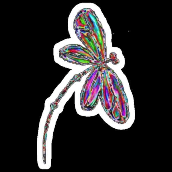 Dragonfly  Neon  by lyndseyart