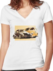 One Spirit - Bettle & Bus (only) Women's Fitted V-Neck T-Shirt