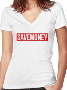 Vic Mensa Save Money Logo  Women's Fitted V-Neck T-Shirt