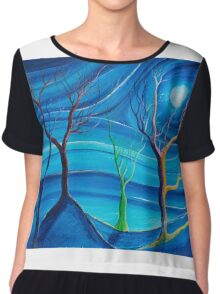 Trees in blue space  Chiffon Top