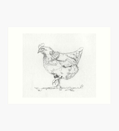 Hen Drawing in One Line Art Print