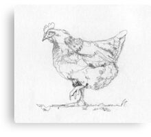 Hen Drawing in One Line Canvas Print