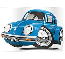 VW Beetle caricature blue Poster