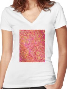 Hot Pink and Gold Baroque Floral Pattern Women's Fitted V-Neck T-Shirt