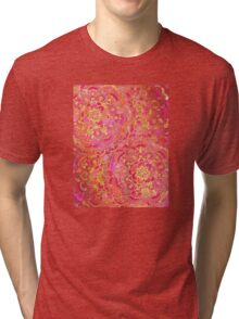 Hot Pink and Gold Baroque Floral Pattern Tri-blend T-Shirt