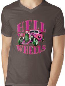 Hell on Wheels - Hot Pink Mens V-Neck T-Shirt