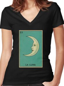 Tarot Card - La Luna - loteria - The moon Women's Fitted V-Neck T-Shirt