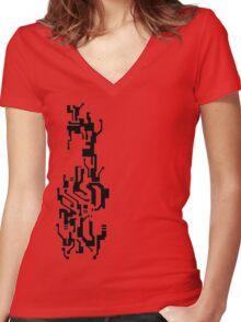 Mirror's Edge Faith digital tattoo pattern Women's Fitted V-Neck T-Shirt