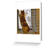 Let me out, lemeout, meout, meow Greeting Card