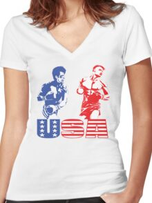 Rocky vs Drago - USA Patriotic Design - Rocky IV - Greatest Boxing Movie of All Time - I Must Break You Women's Fitted V-Neck T-Shirt
