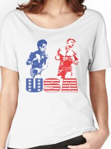 Rocky vs Drago - USA Patriotic Design - Rocky IV - Greatest Boxing Movie of All Time - I Must Break You Women's Relaxed Fit T-Shirt