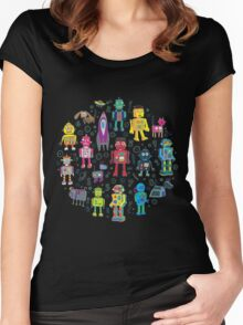 Robots in Space - black Women's Fitted Scoop T-Shirt