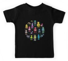 Robots in Space - black Kids Tee