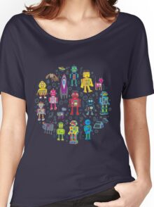 Robots in Space - black Women's Relaxed Fit T-Shirt