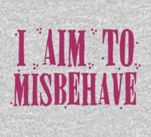 I aim to misbehave in pink One Piece - Long Sleeve
