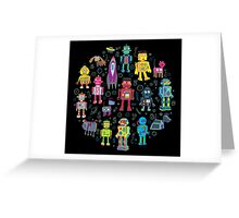 Robots in Space - black Greeting Card
