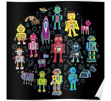Robots in Space - black Poster