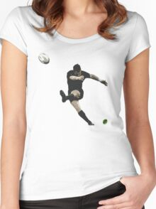 Rugby Goal Kick Illustration Women's Fitted Scoop T-Shirt