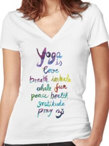 Yoga is love...&... Women's Fitted V-Neck T-Shirt