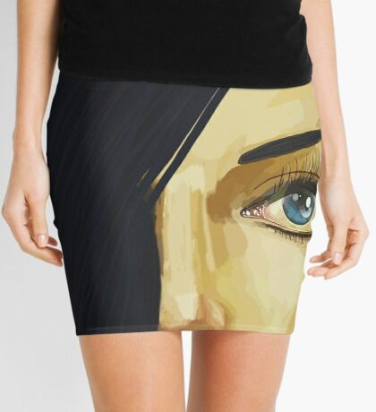Blue Eye Black Hair Mini Skirt