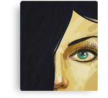 Green eyes Black hair Canvas Print