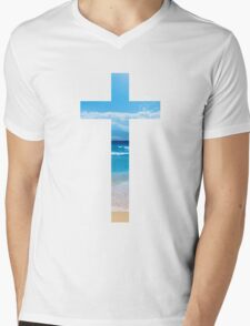 Christian Cross Mens V-Neck T-Shirt