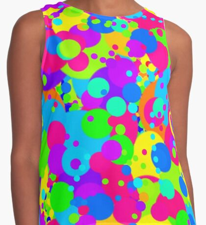 Crazy Colorful Circles Pattern Contrast Tank