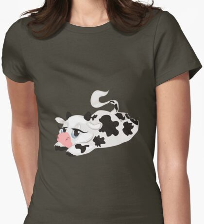 Lying Cute Cartoon Cow Womens Fitted T-Shirt