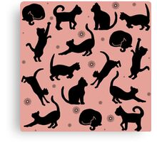 Retro Cats: Pink Canvas Print