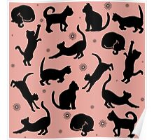 Retro Cats: Pink Poster