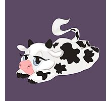 Lying Cute Cartoon Cow Photographic Print
